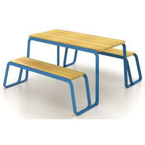 contemporary picnic table / solid wood / painted steel / rectangular
