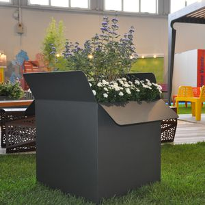 galvanized steel planter / COR-TEN® steel / square / rectangular