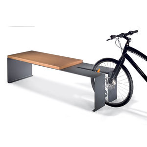bench with integrated bike rack