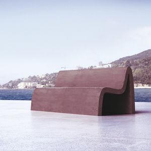 public bench / original design / composite material / with backrest