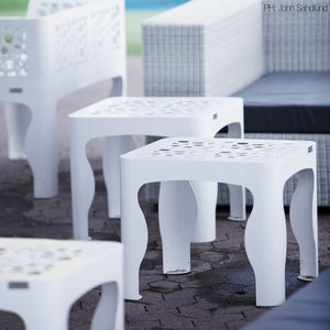 contemporary side table / galvanized steel / square / outdoor