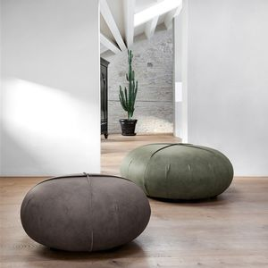 contemporary pouf / leather / round / gray