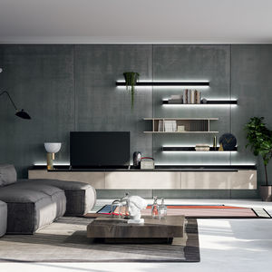 contemporary TV wall unit / matte lacquered wood / satin lacquered wood / painted metal