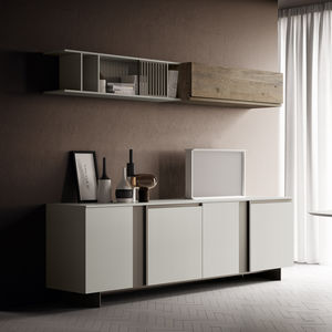 contemporary sideboard / oak / walnut / matte lacquered wood