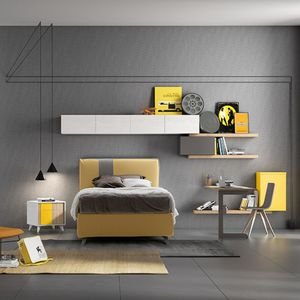 white children's bedroom furniture set / yellow / lacquered wood / unisex