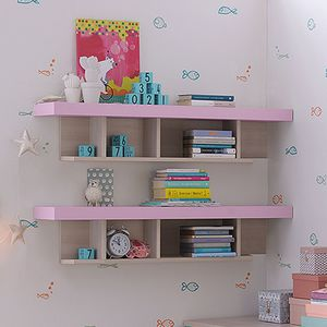 wall-mounted shelf / contemporary / lacquered wood / child's