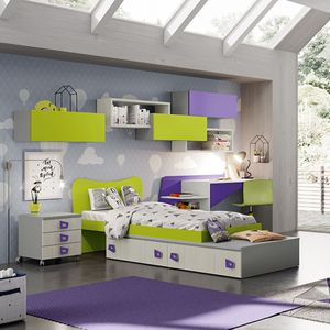 green children's bedroom furniture set / purple / lacquered wood / unisex