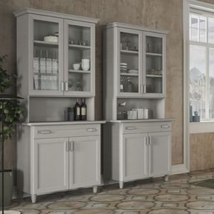 traditional china cabinet / lacquered wood / glass / commercial