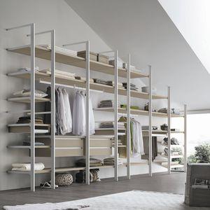 contemporary walk-in wardrobe / metal / melamine / modular