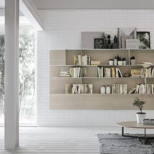 wall-mounted bookcase / contemporary / ash / metal