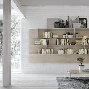 contemporary bookcase / ash / metal