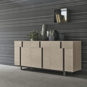 contemporary sideboard / lacquered wood / ash / metal