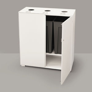 built-in trash can / steel / glass / commercial