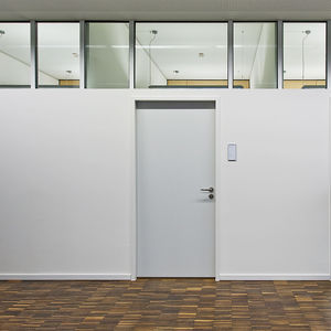 fixed partition / glass / aluminum / for open space