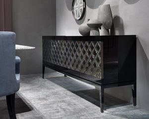 sideboard with long legs / traditional / lacquered wood / metal