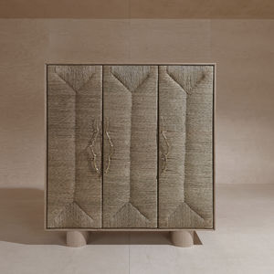 contemporary wardrobe / wooden / brass / straw