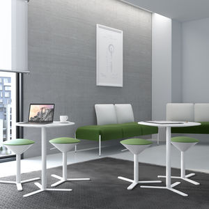 contemporary bistro table / laminate / powder-coated steel / ceramic