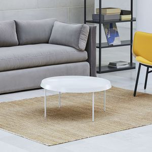 contemporary coffee table / steel / round / for public spaces