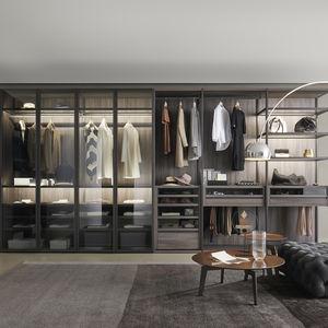corner walk-in wardrobe / modular / contemporary / matte lacquered wood