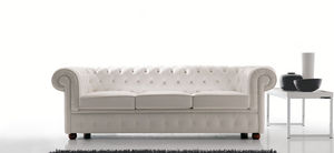 Chesterfield sofa / leather / 3-seater / brown