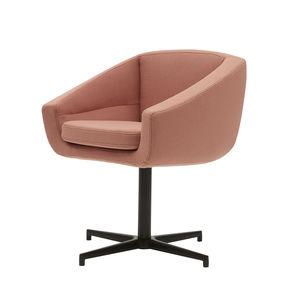 contemporary armchair / fabric / aluminum / swivel