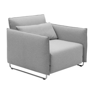 contemporary armchair / fabric / steel / sled base