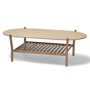 contemporary coffee table / oak / round / oval