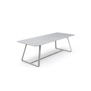 contemporary dining table / steel / HPL / cement