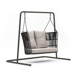 powder-coated steel swing seat / fabric / synthetic fiber / rope