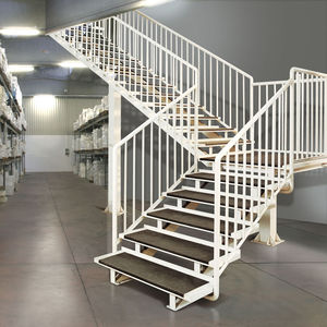 quarter-turn staircase / steel frame / metal steps / without risers