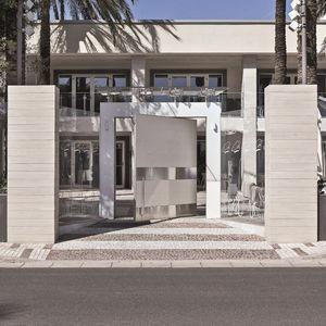 exterior door / pivoting / stainless steel / ceramic