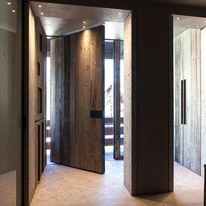 exterior door / pivoting / solid wood / security