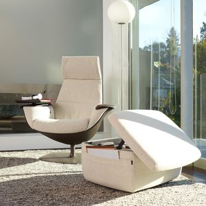contemporary visitor armchair / fabric / leather / swivel