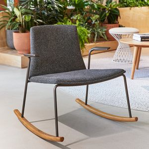 contemporary visitor armchair / fabric / wooden / rocker