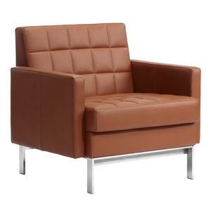 contemporary visitor armchair / fabric / leather / steel