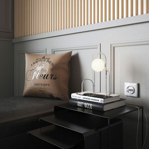 bedside table lamp / contemporary / steel / glass