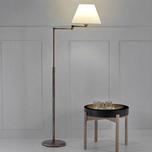 floor-standing lamp / contemporary / fabric / brass