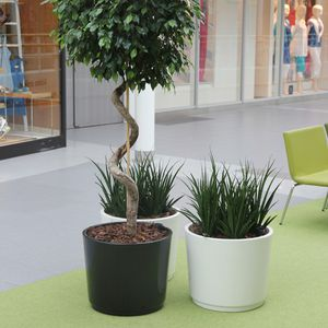 wooden planter / fiberglass / round / with integrated bench