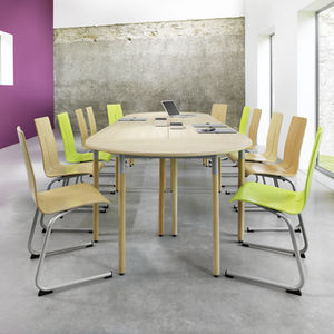 contemporary table / laminate / melamine / beech base