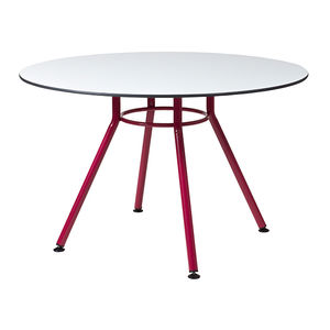 contemporary table / polyethylene / steel base / round