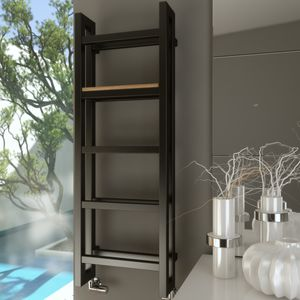 hot water towel radiator / metal / wooden / contemporary