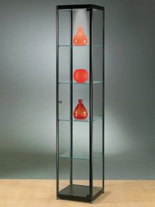 contemporary display case / glass / wooden / aluminum
