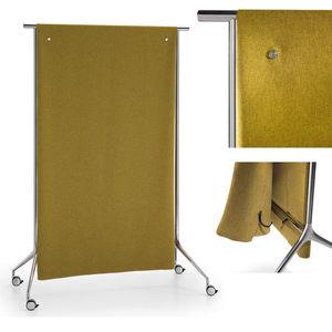 floor-mounted office divider / fabric / steel / aluminum