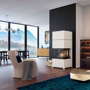 wood heating stove / 3-sided / steel / contemporary