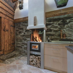 wood-burning fireplace / contemporary / open hearth / wall-mounted
