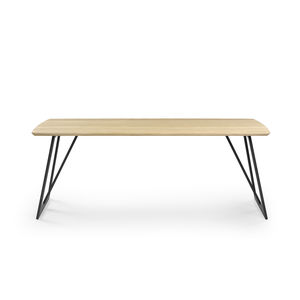 contemporary dining table / metal / solid wood / melamine