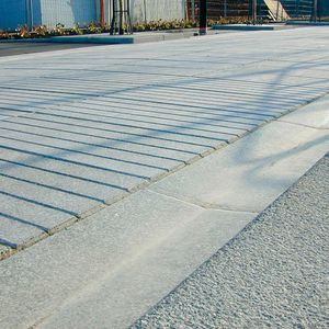 concrete drainage channel / flat / sloped / street