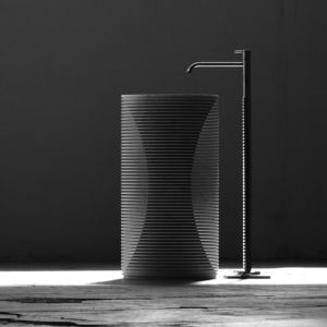 free-standing washbasin / conical / marble / contemporary