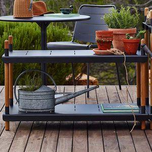 contemporary shelf / teak / aluminum / garden