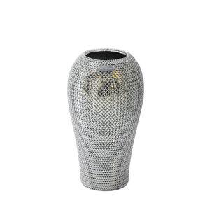 contemporary vase / ceramic / stainless steel
